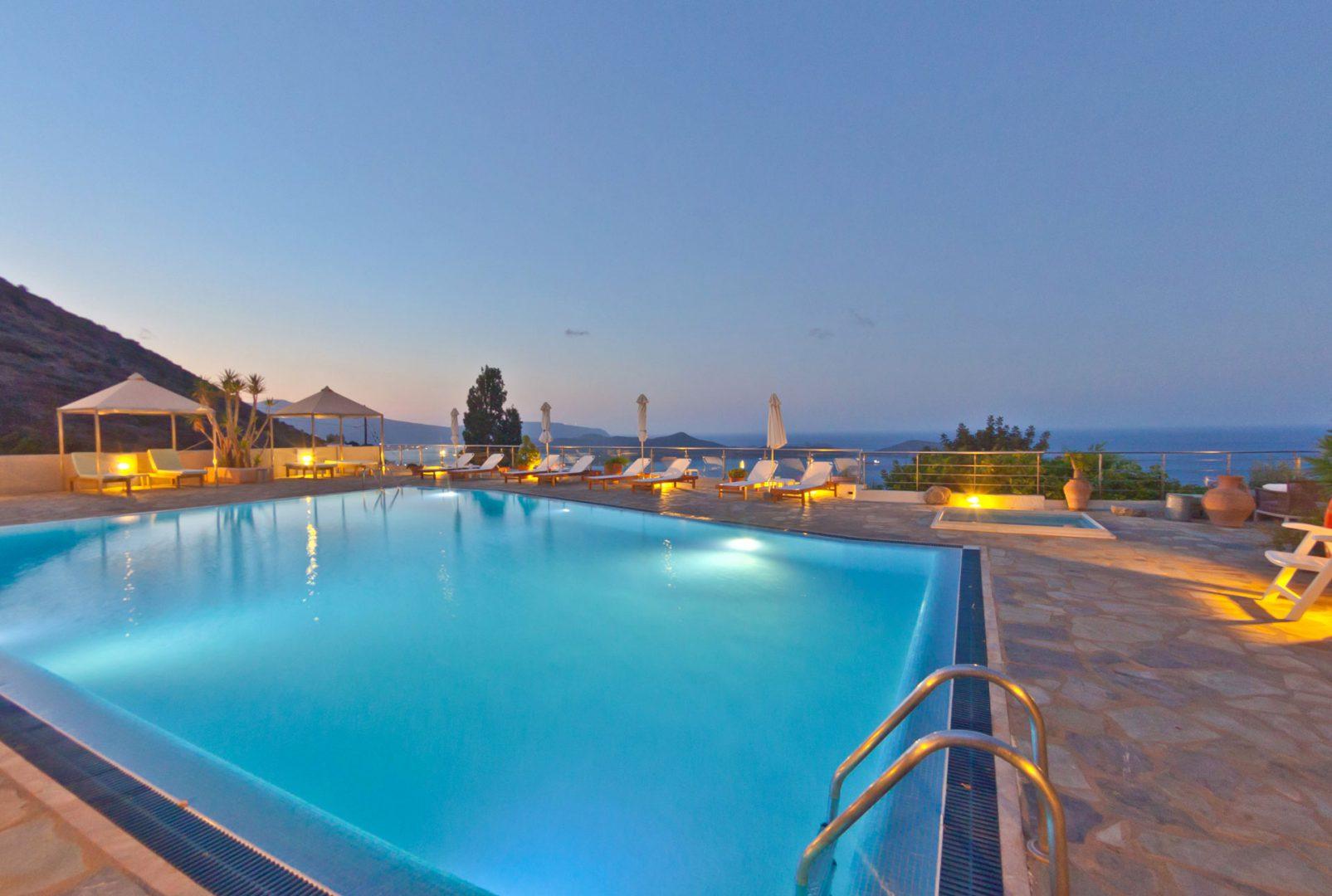 Swimming Pool Sea View - Adrakos Apartments Elounda 04